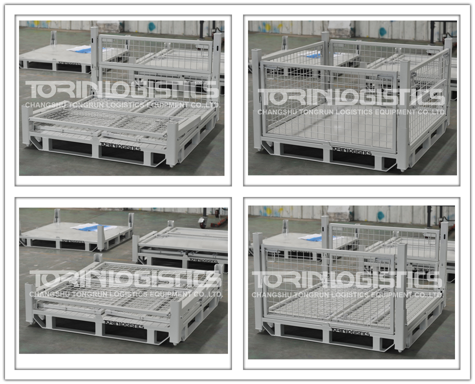 Warehouse Metal Container/Folding steel crates(L1140*W1140 mm/OEM)