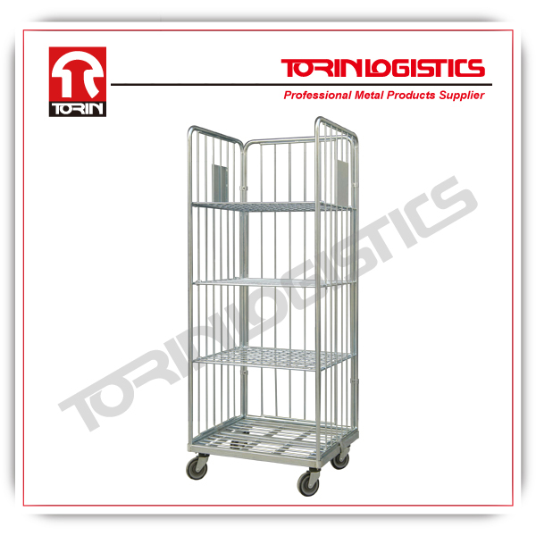 Folding supermarket metal wire mesh warehouse storage roll containers (L800*W712