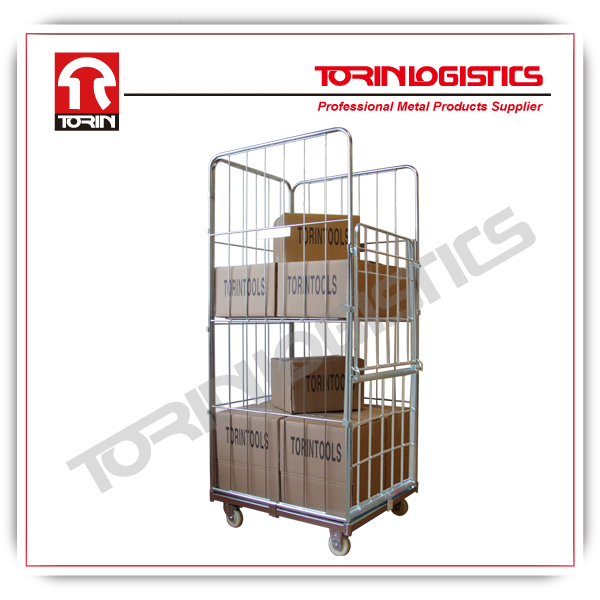warehouse metal wire Roll cage with door,nestable metal wire security cart for w